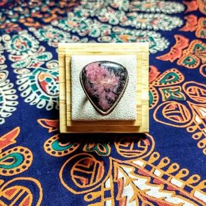 925 Silver Ring with Rhodonite Gemstone